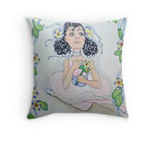 Ribbons and Columbine Throw Pillow