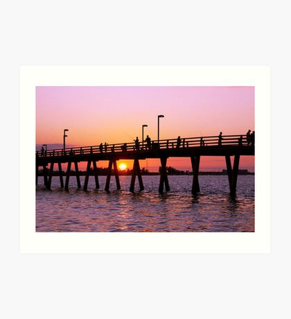 Sunset at the Fishing Pier Art Print