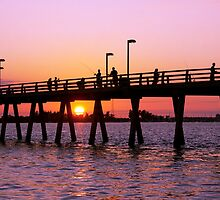 Sunset at the Fishing Pier by Delmas Lehman