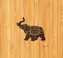 Bamboo Look & Engraved Retro Thai Elephant by scottorz