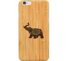 Bamboo Look & Engraved Retro Thai Elephant iPhone Case/Skin
