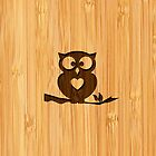 Bamboo Look & Engraved Cute Owl in Tree by scottorz