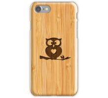 Bamboo Look & Engraved Cute Owl in Tree iPhone Case/Skin