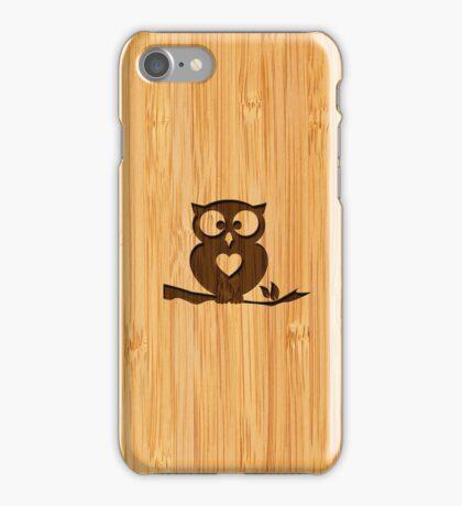 Bamboo Look & Engraved Cute Owl in Tree iPhone Case/Skin