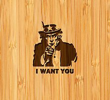 Bamboo Look & Engraved Classic Uncle Sam by scottorz
