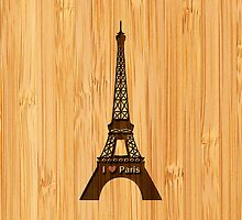 Bamboo Look & Engraved I Love Paris Eiffel Tower by scottorz