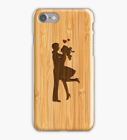 Bamboo Look Engraved Lovely Couple Valentine's Day iPhone Case/Skin