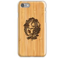 Bamboo Look & Engraved Cute Chinese Dragon iPhone Case/Skin
