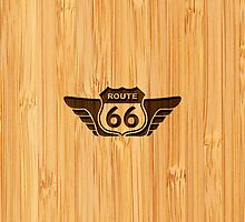 Bamboo Look & Engraved American Route 66 Sign by scottorz