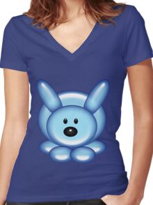 Bunny Rabbit Balloon Animal Women's Fitted V-Neck T-Shirt