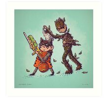 Rocket and Groot Trick or Treat Art Print
