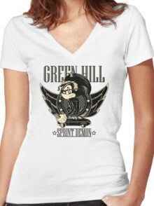 Green Hill Sprint Demon Women's Fitted V-Neck T-Shirt