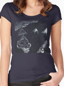 Skeleton Dude Playing Guitar Women's Fitted Scoop T-Shirt