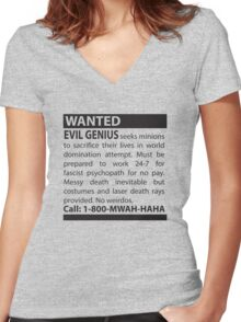 Minions Wanted Women's Fitted V-Neck T-Shirt
