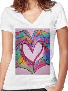 Universal Sign for Love - You Hold my Heart in Your Hand Women's Fitted V-Neck T-Shirt