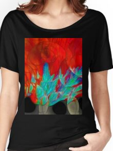 Abstract In Red Women's Relaxed Fit T-Shirt
