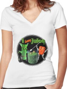 I Love Juice w/ celerybot by Valxart    Women's Fitted V-Neck T-Shirt