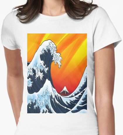 Japanese Wave Womens Fitted T-Shirt