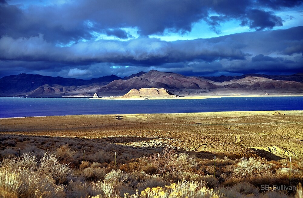 Pyramid Lake at Sundown by SB  Sullivan