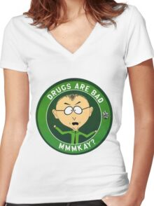 Mr Mackey (drugs are bad) Women's Fitted V-Neck T-Shirt