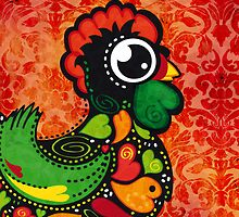 Rooster of Barcelos - Vintage Background by silvianeto