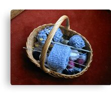 Basket of Knitting Canvas Print