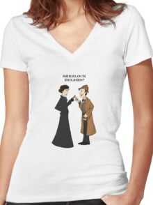 sherlock who? Women's Fitted V-Neck T-Shirt