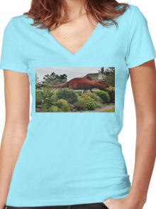 Dinosaurs of Northern California Women's Fitted V-Neck T-Shirt