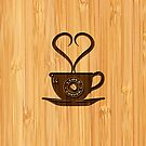 Bamboo Look & Engraved Cute I Love Coffee by scottorz