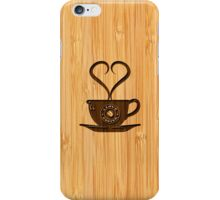 Bamboo Look & Engraved Cute I Love Coffee iPhone Case/Skin