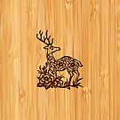 Bamboo Look & Engraved Cute Deer Floral Pattern by scottorz