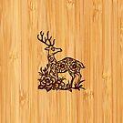 Bamboo Look & Engraved Cute Deer Floral Pattern by scottorz