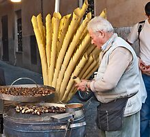Hot Chestnuts Vendor by phil decocco