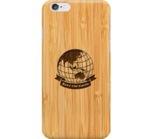 Bamboo Look & Engraved Save the Earth iPhone Case/Skin