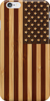 Bamboo Look & Engraved Vintage American USA Flag by scottorz