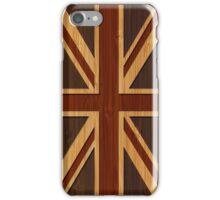 Bamboo Look & Engraved Vintage UK Flag Union Jack iPhone Case/Skin