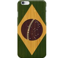 Bamboo Look & Engraved Vintage Brazil Flag iPhone Case/Skin