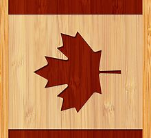 Bamboo Look & Engraved Canada Flag Maple Leaf by scottorz