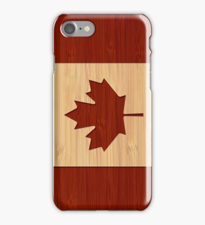 Bamboo Look & Engraved Canada Flag Maple Leaf iPhone Case/Skin