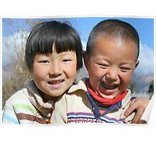 Children at play, Bhutan Poster