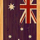 Bamboo Look & Engraved Australia Australian Flag by scottorz