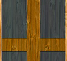 Bamboo Look & Engraved Sweden Swedish Sverige Flag by scottorz