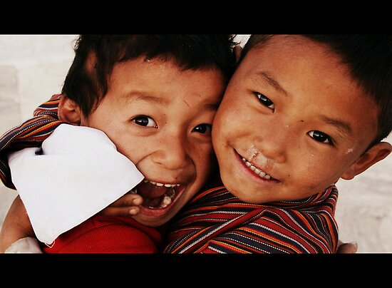 Boys at play in Paro, Bhutan by LeighBlake