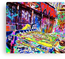 Melbourne Graffiti Street Art Rubbish Bin Canvas Print