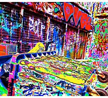 Melbourne Graffiti Street Art Rubbish Bin Photographic Print