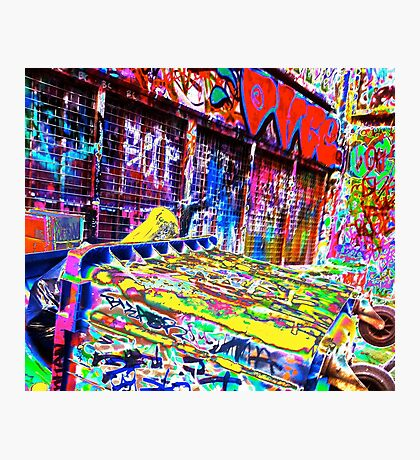 Melbourne Graffiti Street Art Rubbish Bin Photographic Print