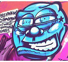 Blue Face Man - Graffiti - Street Art Photographic Print