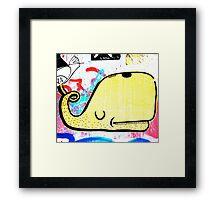 Melbourne Graffiti Street Art - Yellow Whale Framed Print
