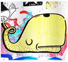 Melbourne Graffiti Street Art - Yellow Whale Poster