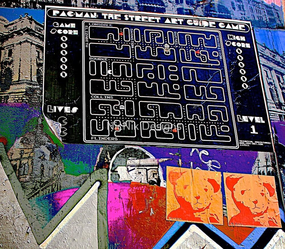 Pac Man graffiti lane map - Graffiti - Street Art by NicNik Designs